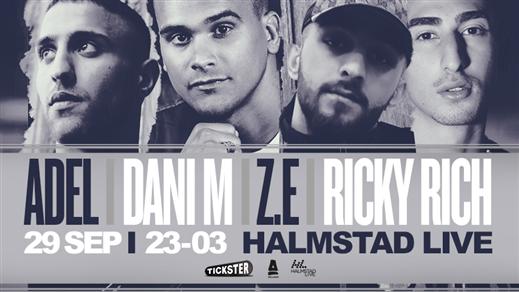 Bild för Dani M / Adel / Z.E / Ricky Rich / Halmstad, 2018-09-29, Halmstad Live