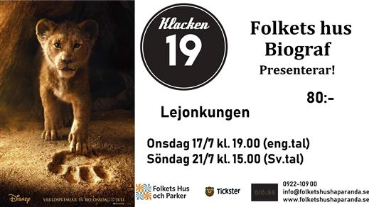 Bild för Lejonkungen (Live Action) 2D (Sv. tal), 2019-07-21, Biosalongen Folkets Hus