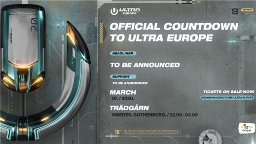 Bild för Ultra Europe Countdown Party, 2020-03-07, RESTAURANG TRÄDGÅR'N