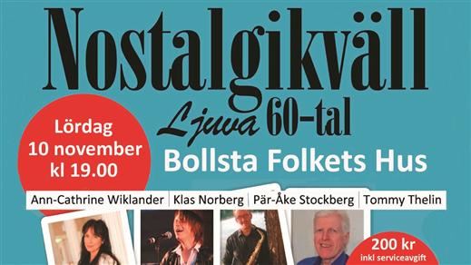 """Bild för Nostalgikväll """"Ljuva 60-tal"""", 2018-11-10, Bollsta Folkets Hus"""