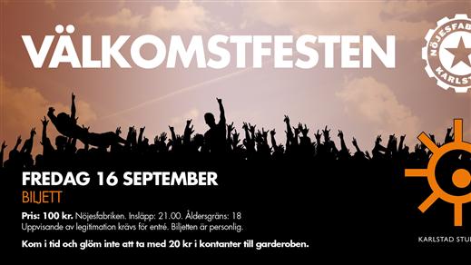 Bild för Välkomstfesten 2016, 2016-09-16, Nöjesfabriken