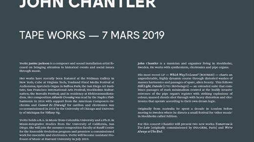 Bild för Tape Works: Yvette Janine Jackson + John Chantler, 2019-03-07, Fylkingen