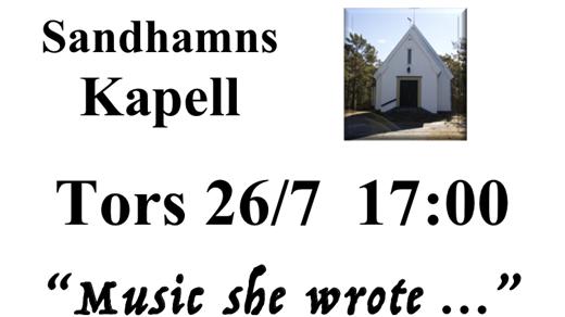 Bild för Music she wrote... Kvinnliga kompositörer, 2018-07-26, Sandhamns Kapell