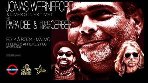 Bild för Jonas Wernefort med Papa Dee & Fredrik von Gerber, 2019-04-05, Folk Å Rock