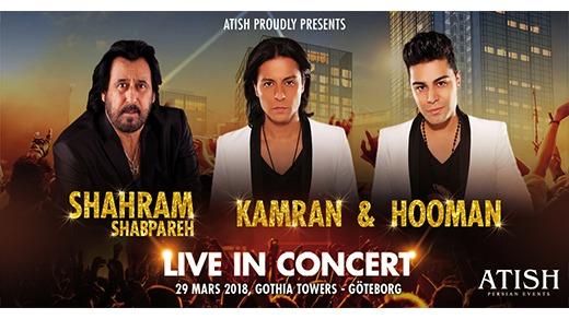 Bild för Shahram Shabpareh ,Kamran & Hooman Live in Concert, 2018-03-29, Gothia Towers -  kongresshallen