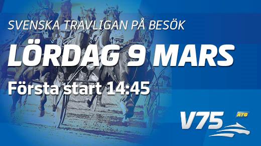 Bild för Lördagstrav med spelformen V75, 2019-03-09, Färjestads Travbana