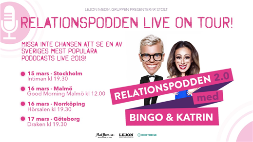 Bild för Relationspodden Live on Tour, 2019-03-16, Good Morning Malmö