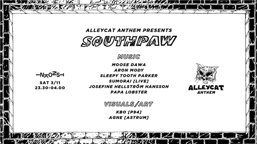 Bild för Alleycat Anthem presents: Southpaw | 3/11 Inkonst, 2018-11-03, Inkonst