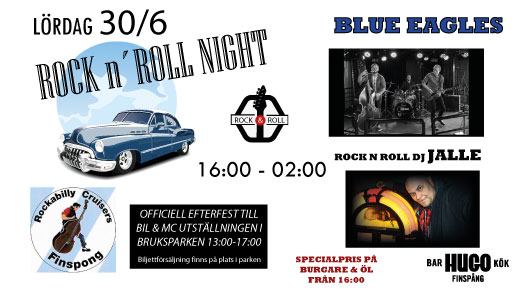 Bild för Rock n Roll Night - 30/6 - Blue Eagles live m.m., 2018-06-30, Hugo Finspång