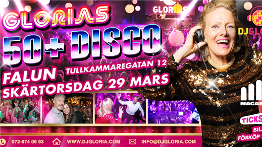 Bild för Glorias 50+ DISCO FALUN 29 mars 2018, 2018-03-29, Kulturföreningen Magasinet