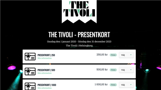 Bild för THE TIVOLI - PRESENTKORT, 2020-01-01, The Tivoli