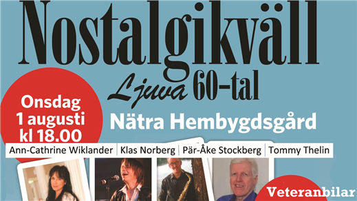 Bild för Nostalgikväll ljuva 60-tal, 2018-08-01, Nätra Hembygdsgård