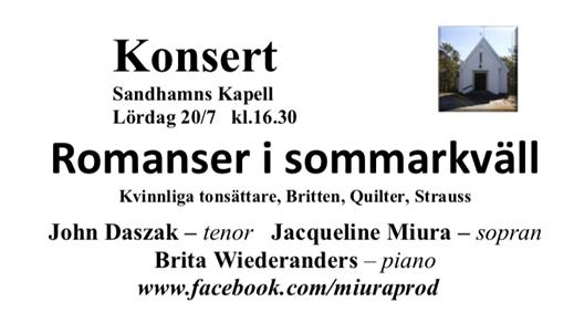 Bild för Romanser i sommarkväll!, 2019-07-20, Sandhamns Kapell
