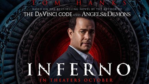Bild för Inferno (Sal.1 15 år Kl.18:00 2h 01m), 2016-10-22, Saga Salong 1