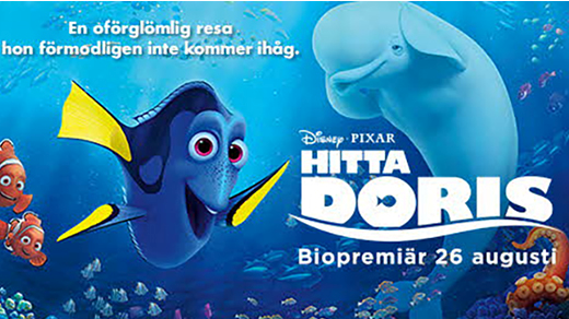 Bild för Hitta Doris  (Sv. tal)( 7 år) PREMIÄR, 2016-08-26, Biosalongen Folkets Hus