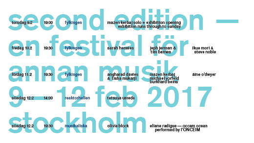 Bild för Second Edition — Festival for Other Music (PASS), 2017-02-09, Fylkingen