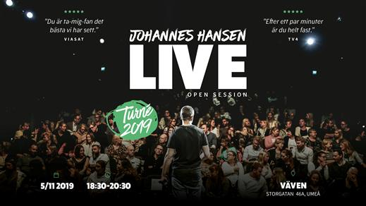 Bild för Johannes Hansen Live: Open Session, 2019-11-05, Vävenscenen
