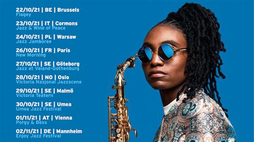 """Bild för Lakecia Benjamin """"The Coltranes"""", 2021-10-27, Nefertiti på Valand"""