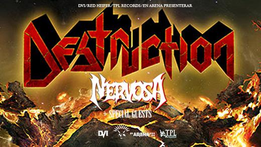 Bild för DESTRUCTION (ger) + Nervosa (bra) + support, 2017-01-14, En Arena