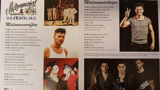 Bild för Midsommarfest i Vattholma med Lindgrens, Zia & L&S, 2019-06-21, Trekantens festplats, Vattholma Bruk