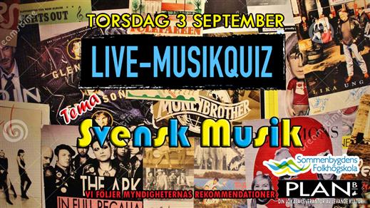 Bild för LIVE-QUIZ. TEMA: SVENSK MUSIK 3/9, 2020-09-03, Plan B