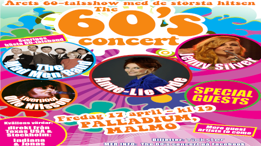 Bild för The 60s concert med bl.a Anne-Lie Ryde MALMÖ, 2021-04-10, Palladium Malmö