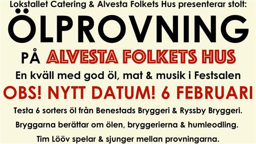 Bild för Ölprovning med Benestad & Ryssby Bryggeri, 2021-02-06, Folkets Hus, Festsalen