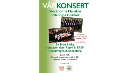 Bild för Vårkonsert Stockholms Manskör & Sollentuna Gosskör, 2020-04-19, S:t Eriks kyrka