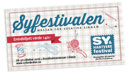 Bild för Sy- & Hantverksfestivalen Stockholm höst, 2016-10-28, Stockholmsmässan