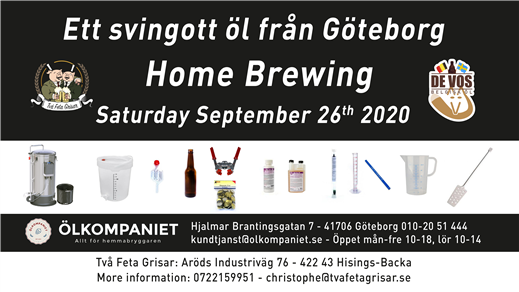 Bild för Home Brewing Course 26 September 2020, 2020-09-26, Två Feta Grisar Bryggeri