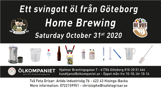 Bild för Home Brewing Course 31 October 2020, 2020-10-31, Två Feta Grisar Bryggeri